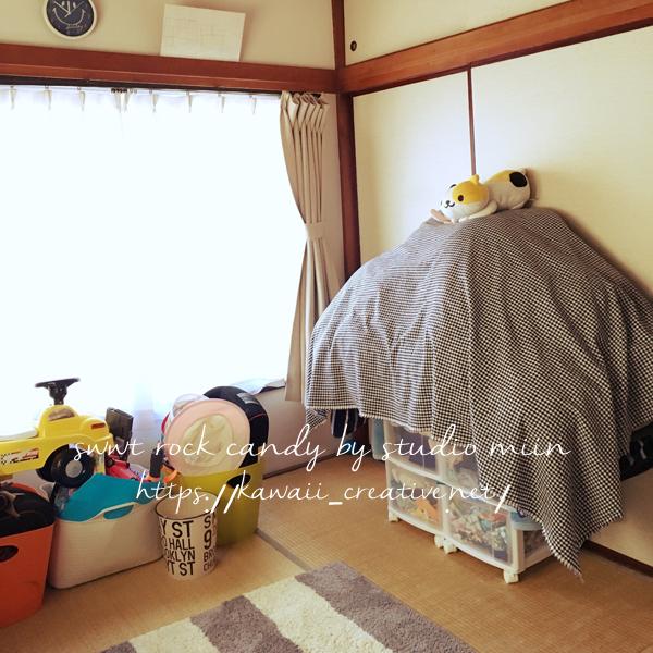 kidsroom washitu futon - 【賃貸2DK家族暮らし】収納無し!狭い部屋での布団の片付け方